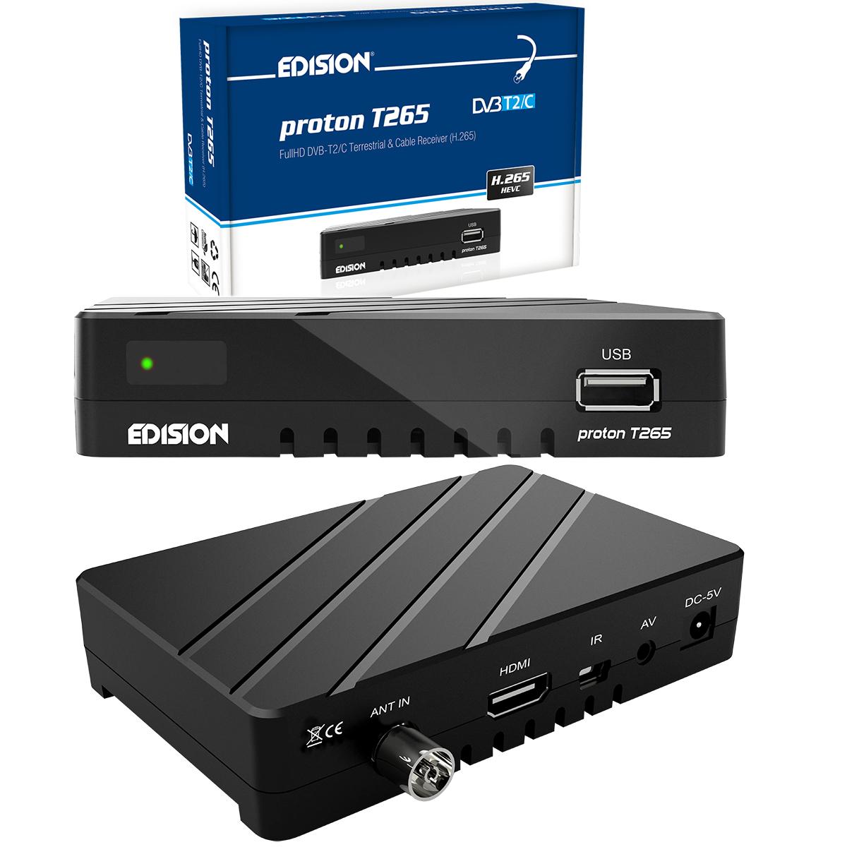 FullHD DVB-T2 DVB-T HDTV Receiver HEVC H.265 Digital HD + Aktive DVB-T2 DVB-T Antenne Außenantenne 28dB mit 4G LTE Filter + 1m HDMI Kabel PremiumX
