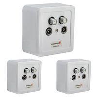 3x PremiumX PX-4 Sat Dose 4 Fach Enddose TWIN Antennendose CLASS A 2x Sat, 1x Radio, 1xTV DIGITAL FULLHD 3D