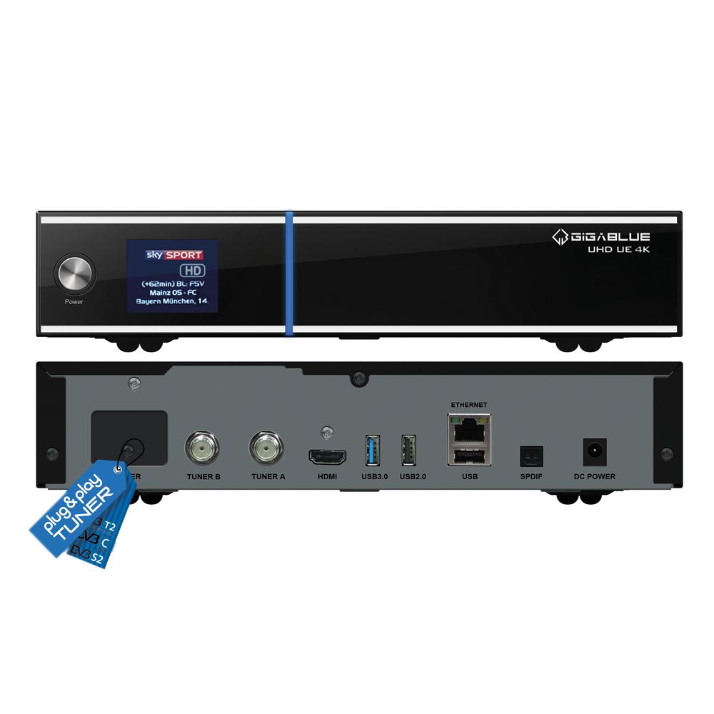 GigaBlue UHD UE 4K Digital Sat Receiver 2x DVB-S2 FBC Twin Tuner HDTV Linux