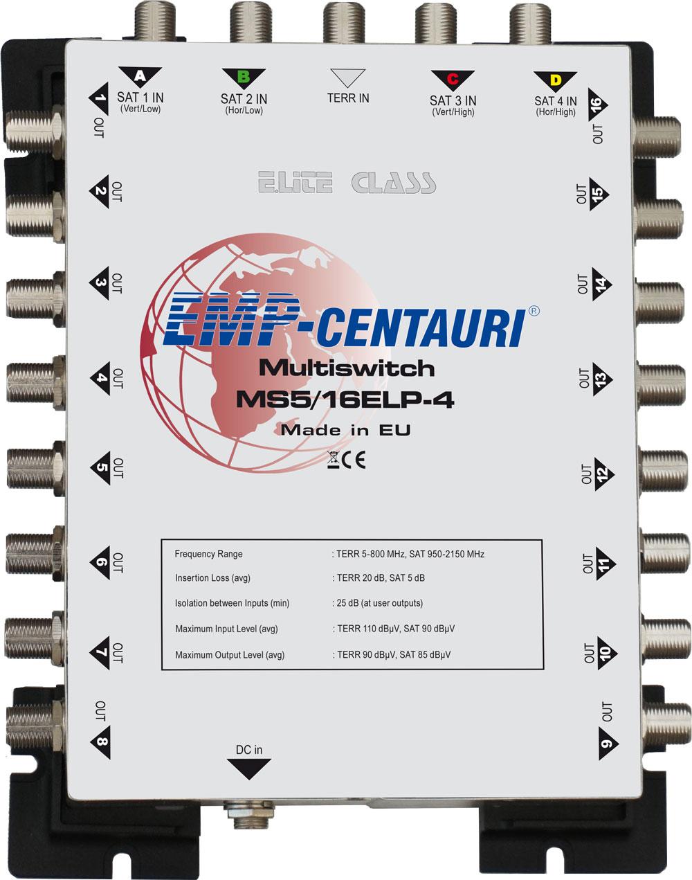 EMP-Centauri E.Lite Class MS 5/16 ELP-4 Multiswitch Multischalter Matrix Sat Verteiler 4K FullHD UHD
