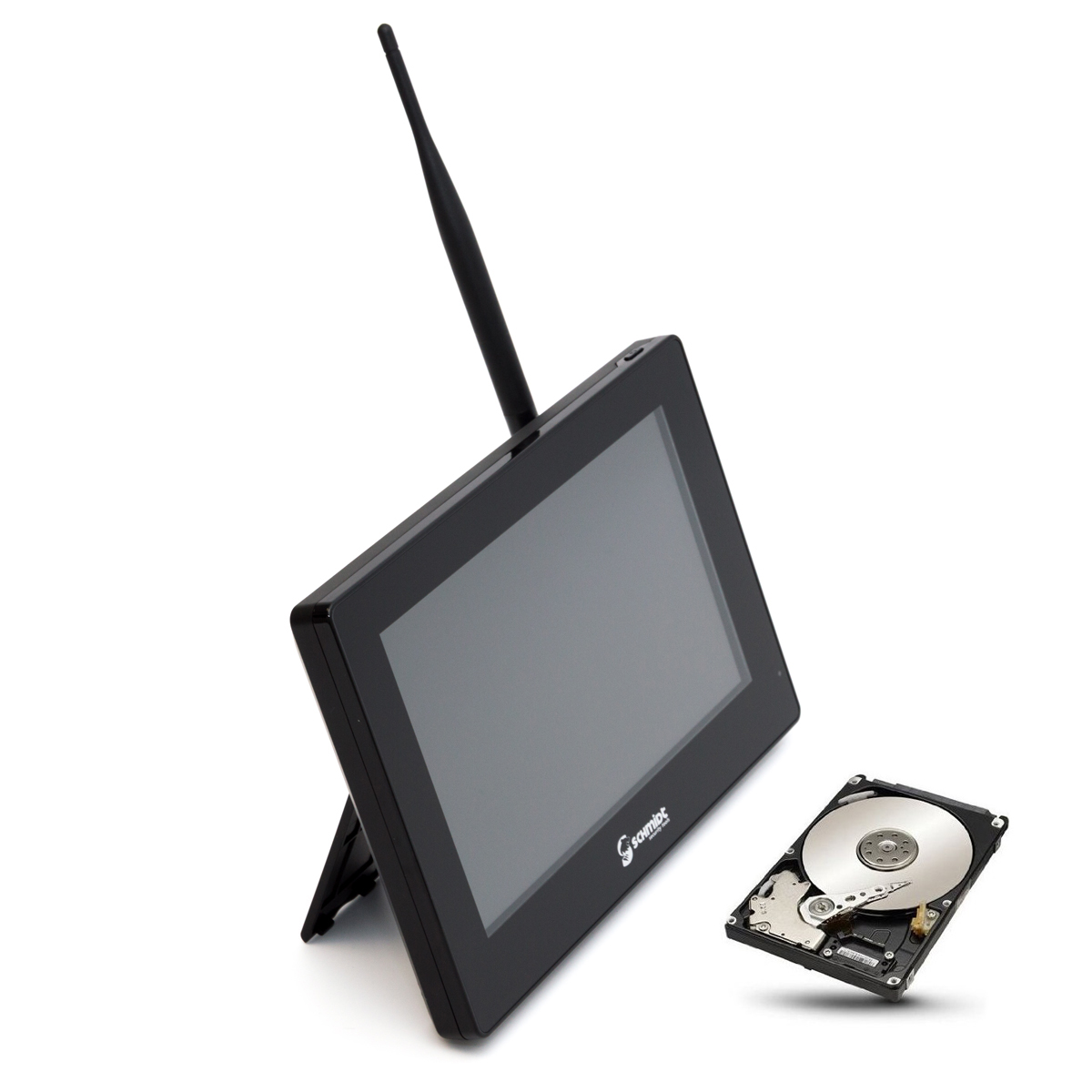 "SCHMIDT-Security-Tools Funk Überwachungssystem 3x Kamera 9"" Touch-Monitor mit Standfuß HD Videoüberwachungsanlage Drahtlos Überwachungsset Sicherheitssystem 1TB HDD Festplatte"
