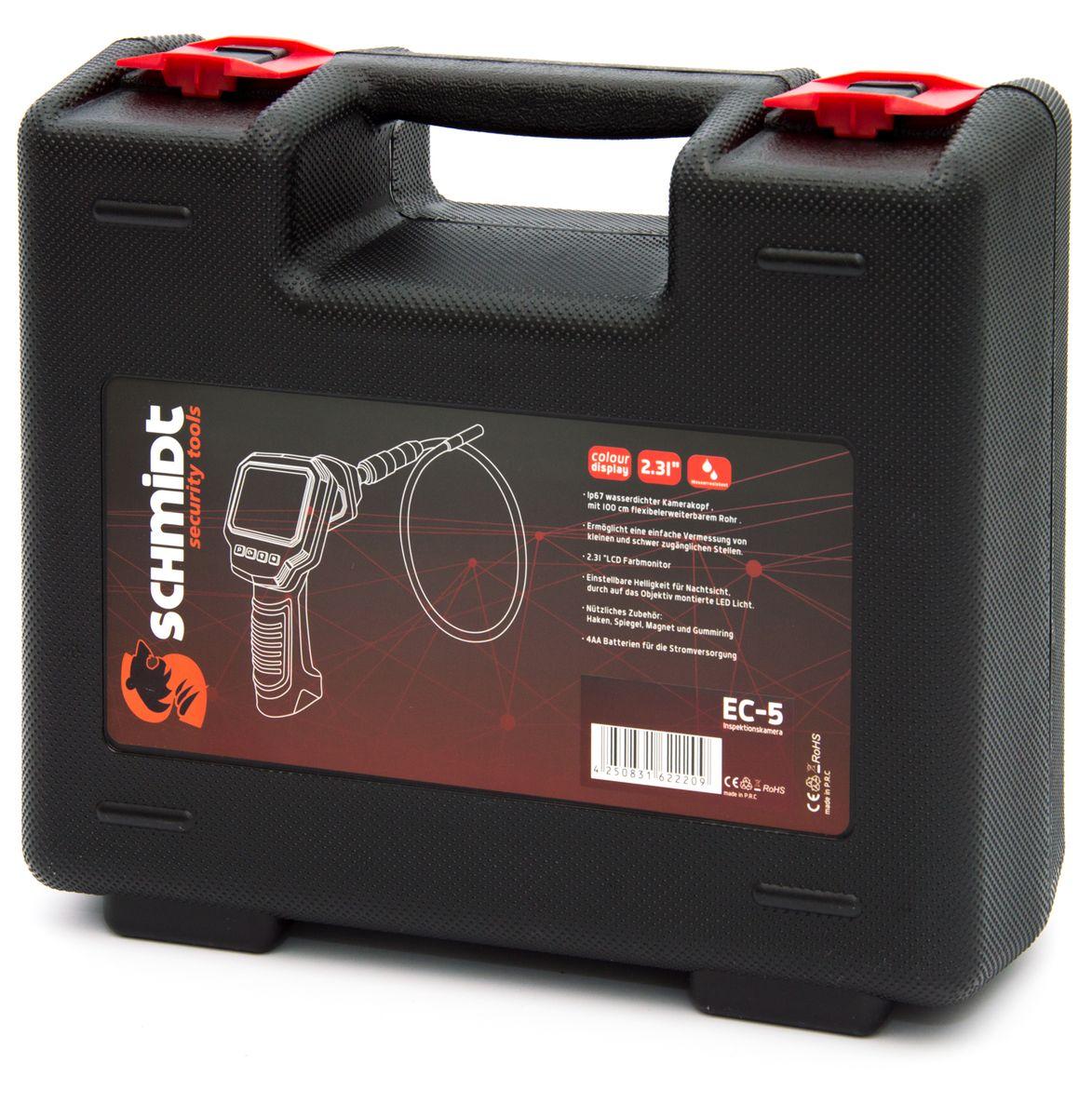 schmidt security tools inspektionskamera endoskop ec 5 mit lcd farb monitor mit sd. Black Bedroom Furniture Sets. Home Design Ideas