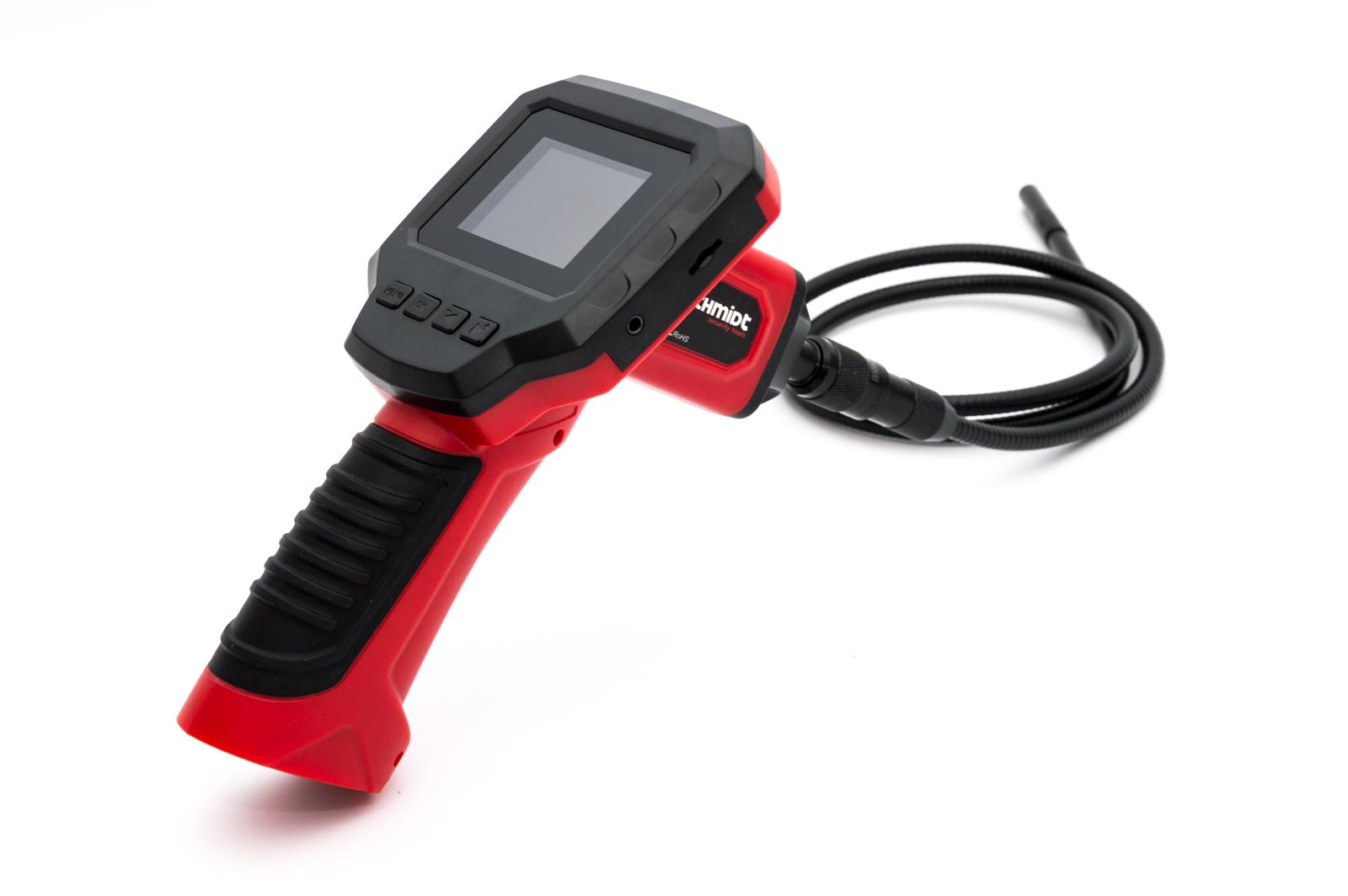 Schmidt Security Tools Inspektionskamera Endoskop EC-5 mit 2.31' LCD Farb Monitor mit SD Kartenslot PVR Aufnahme Kamera mit 1m Schlauch mit LED Beleuchtung IP67 Wasserdicht