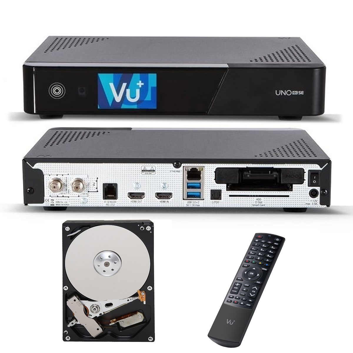 VU+ UNO 4K SE 1X DVB-S2 FBC TWIN TUNER PVR READY SAT LINUX RECEIVER UHD 2160P + 500GB HDD