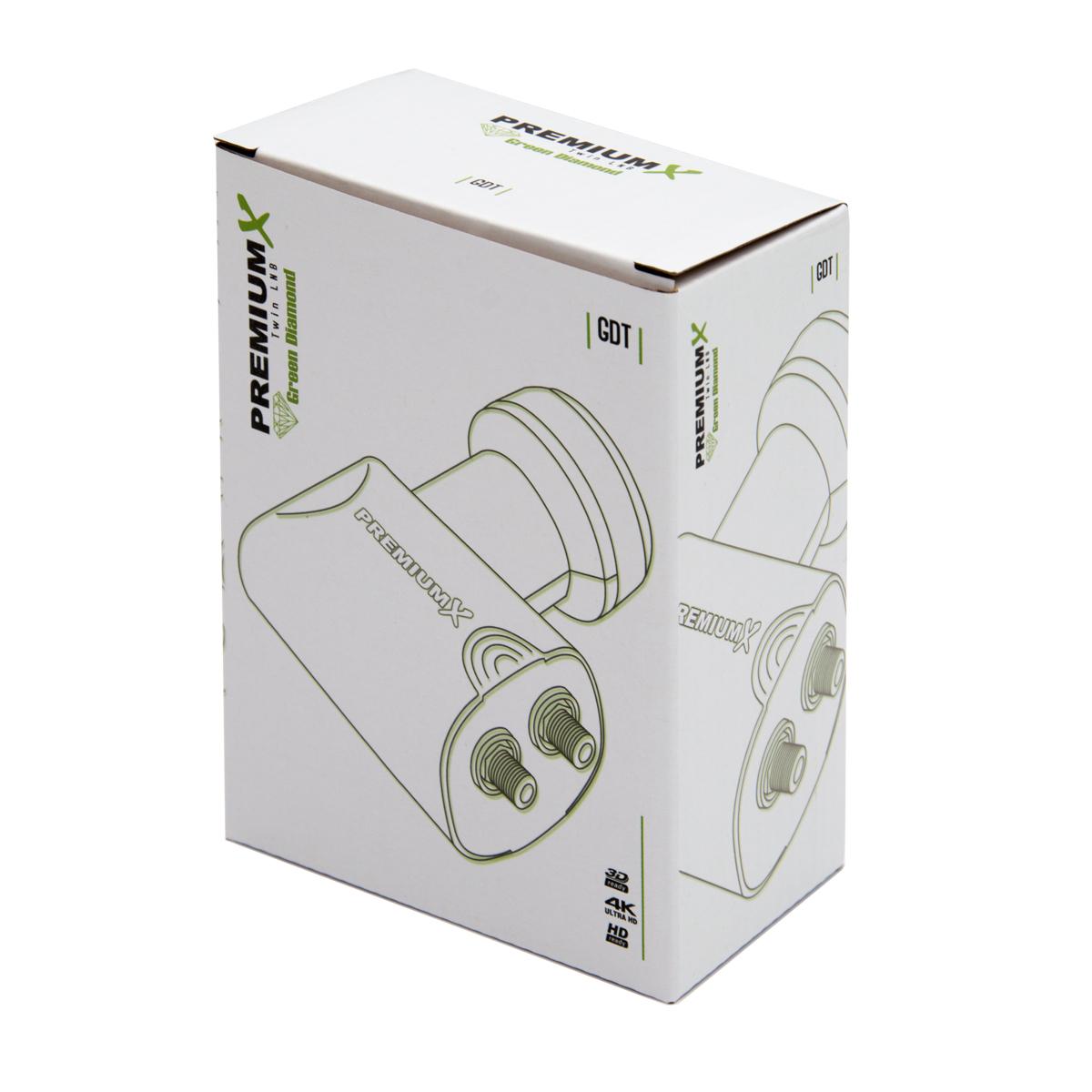 PremiumX Twin LNB GDT 0,1 dB Digital Sat Empfangskopf  Schwarz für 2 Teilnehmer  mit Wetterschutz HDTV Full HD UltraHD 3D 4K