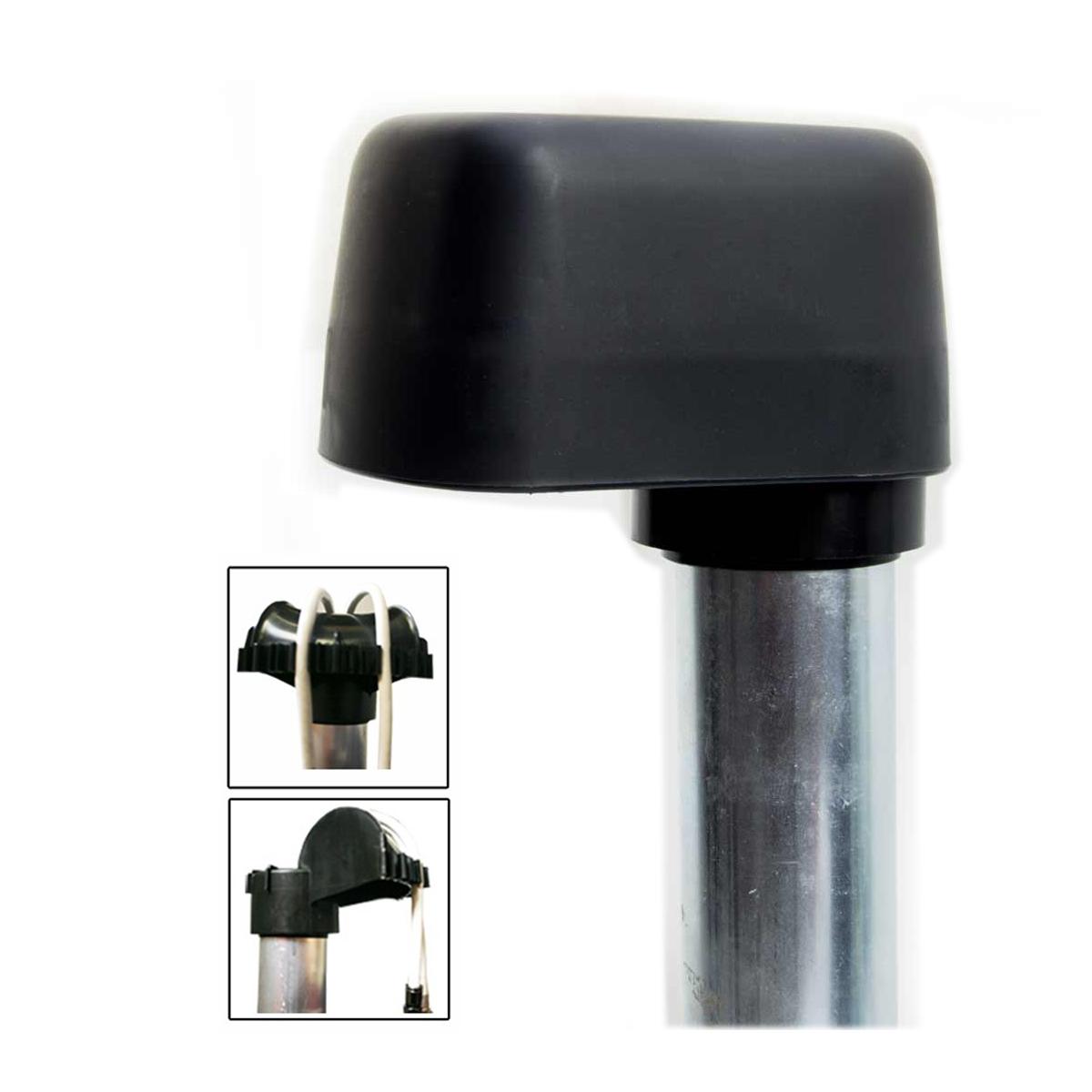 Mastkappe mit Kabeldurchführung groß passend für Masten und Dachsparrenhalter mit 48 mm und 60 mm Durchmesser SAT + SAT Kabelclip