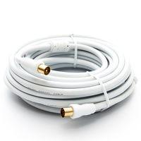 10m PremiumX HDTV TV Antennenkabel Koax Stecker auf Buchse vergoldet 75 Ohm Koaxialkabel für Kabelanschluss DVB-T DVB-T2 mit Mantelstromfilter – 2x Ferritkern – Weiß
