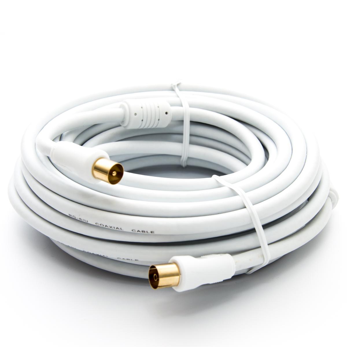 15m PremiumX HDTV TV Antennenkabel Koax Stecker auf Buchse vergoldet 75 Ohm Koaxialkabel für Kabelanschluss DVB-T DVB-T2 mit Mantelstromfilter - 2x Ferritkern - Weiß
