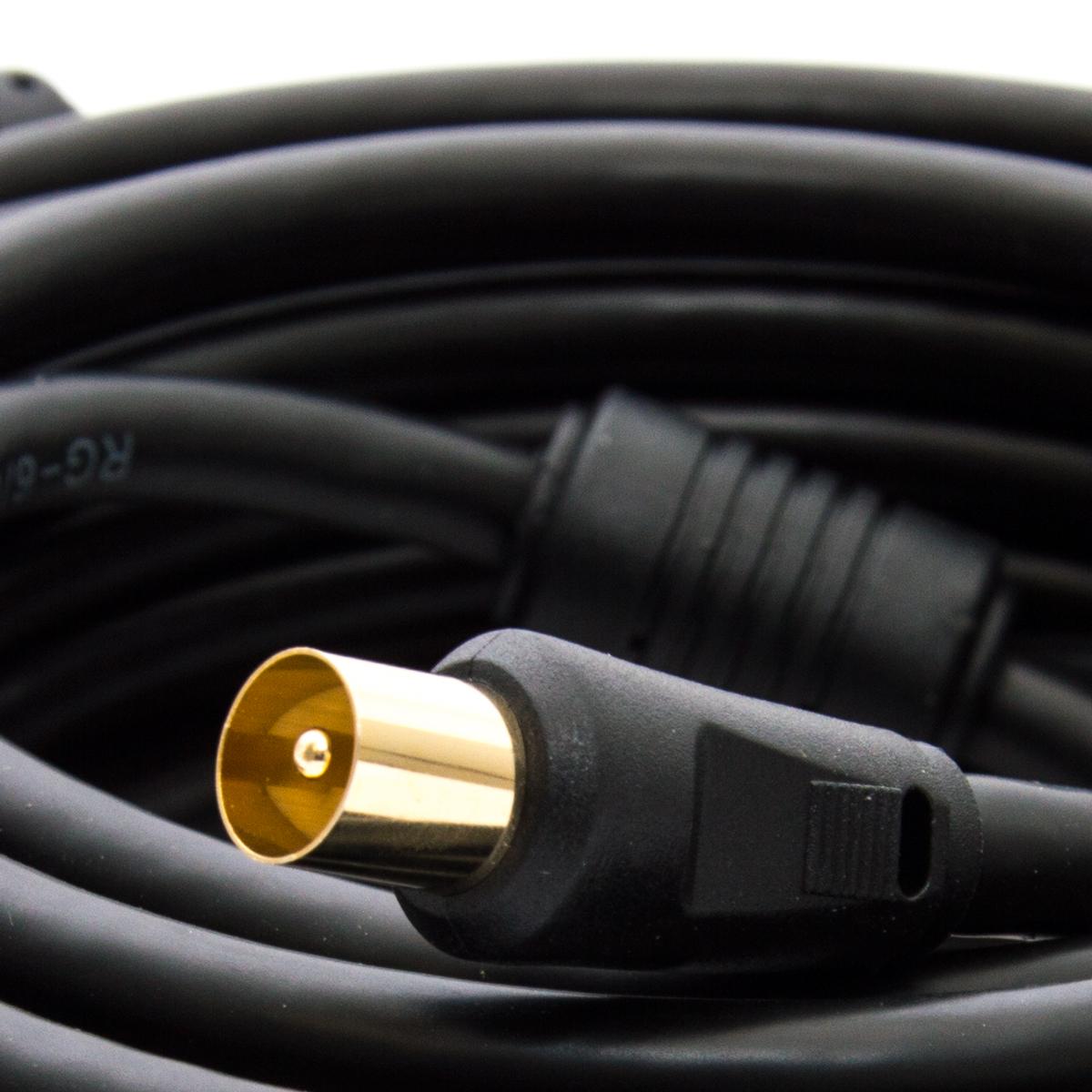 2,5m PremiumX HDTV TV Antennenkabel Koax Stecker auf Buchse vergoldet 75 Ohm Koaxialkabel für Kabelanschluss DVB-T DVB-T2 mit Mantelstromfilter – 2x Ferritkern – Schwarz