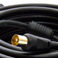 15m PremiumX HDTV TV Antennenkabel Koax Stecker auf Buchse vergoldet 75 Ohm Koaxialkabel für Kabelanschluss DVB-T DVB-T2 mit Mantelstromfilter - 2x Ferritkern - Schwarz – Bild 4