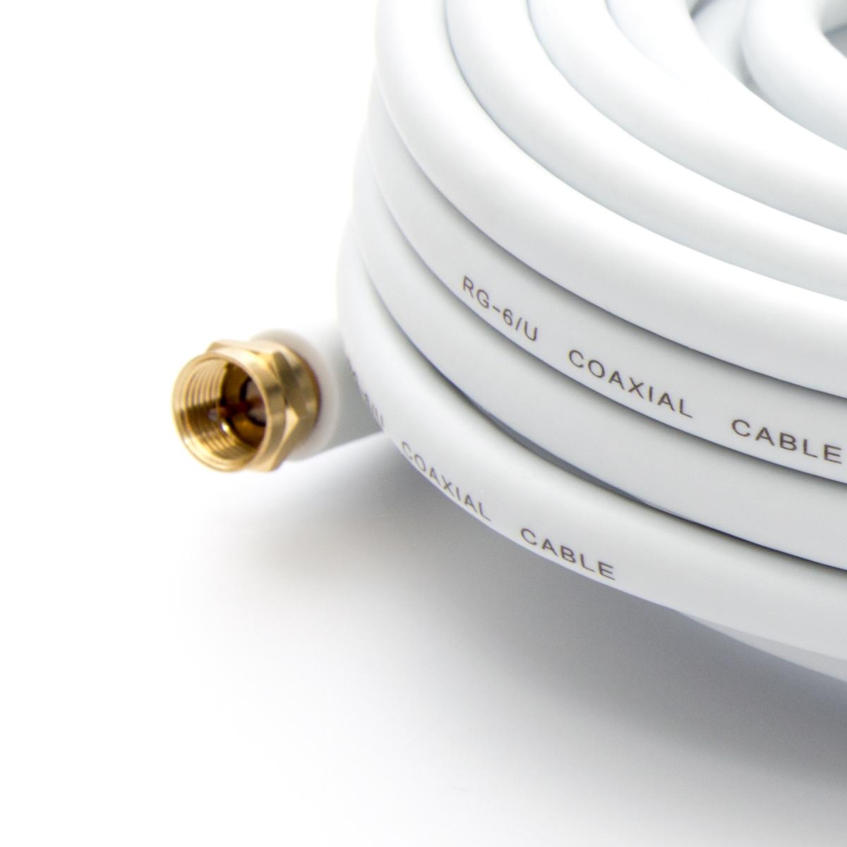 20m PremiumX HDTV Sat Antennenkabel Koax Kabel vergoldet 75 Ohm Koaxialkabel für Sat-Anlage DVB-S DVB-S2 DVB-T DVB-T2 mit Mantelstromfilter – 2x Ferritkern – Weiß