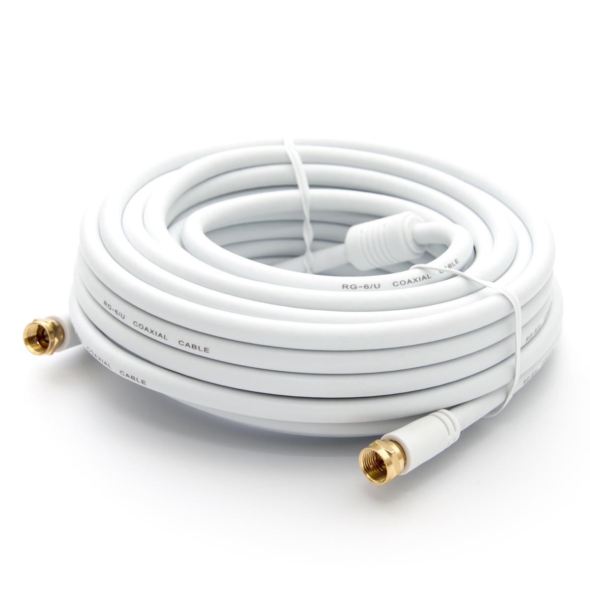 12,5m PremiumX HDTV Sat Antennenkabel Koax Kabel vergoldet 75 Ohm Koaxialkabel für Sat-Anlage DVB-S DVB-S2 DVB-T DVB-T2 mit Mantelstromfilter – 2x Ferritkern – Weiß