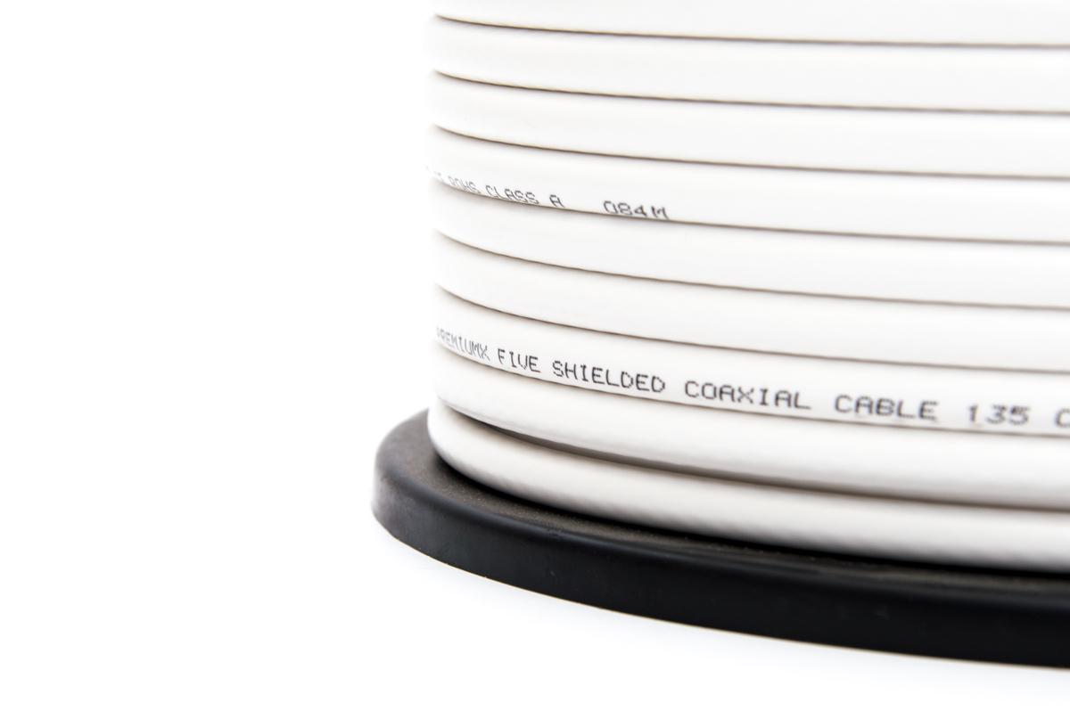 PremiumX BASIC PRO Gold-Line Koaxial Kabel 135dB 5-Fach geschirmt 100 Meter SAT Antennenkabel NEU + 10 F-Stecker