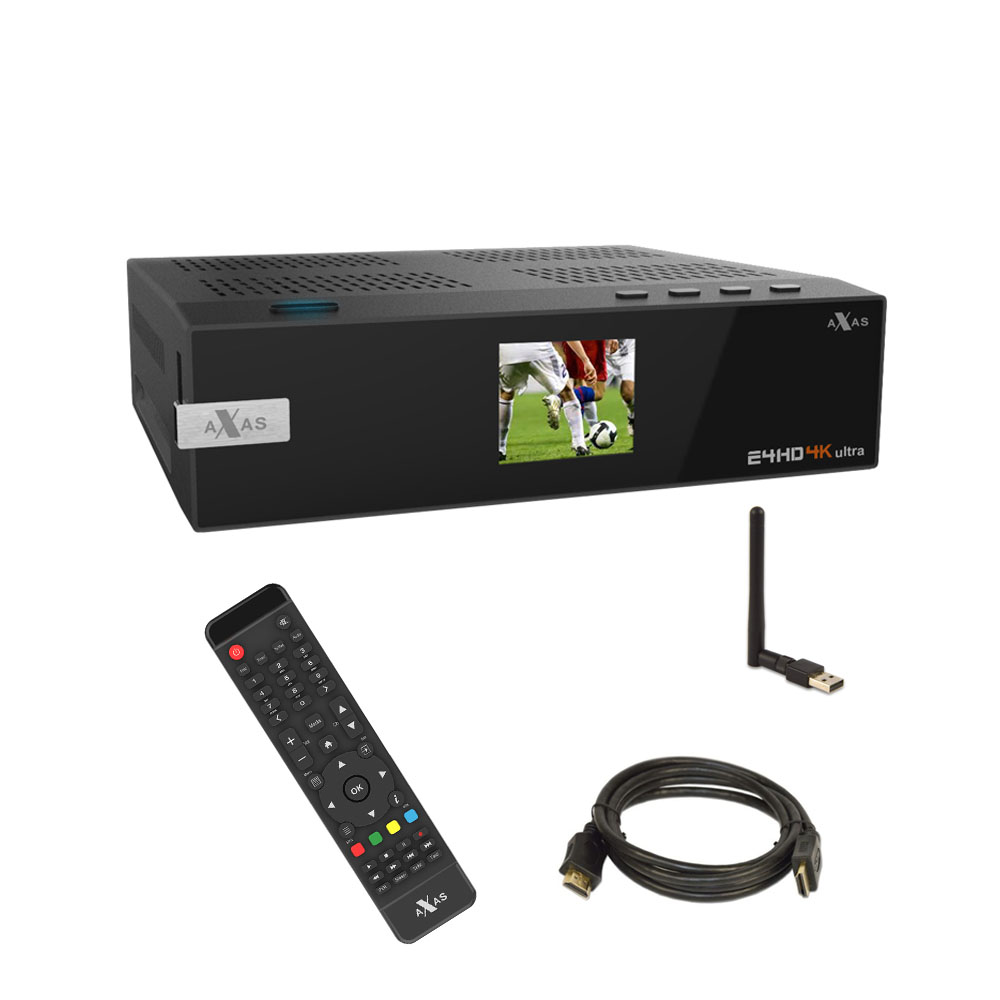 Axas E4HD 4K Ultra HD Linux Sat Receiver + MEGA WLAN Stick