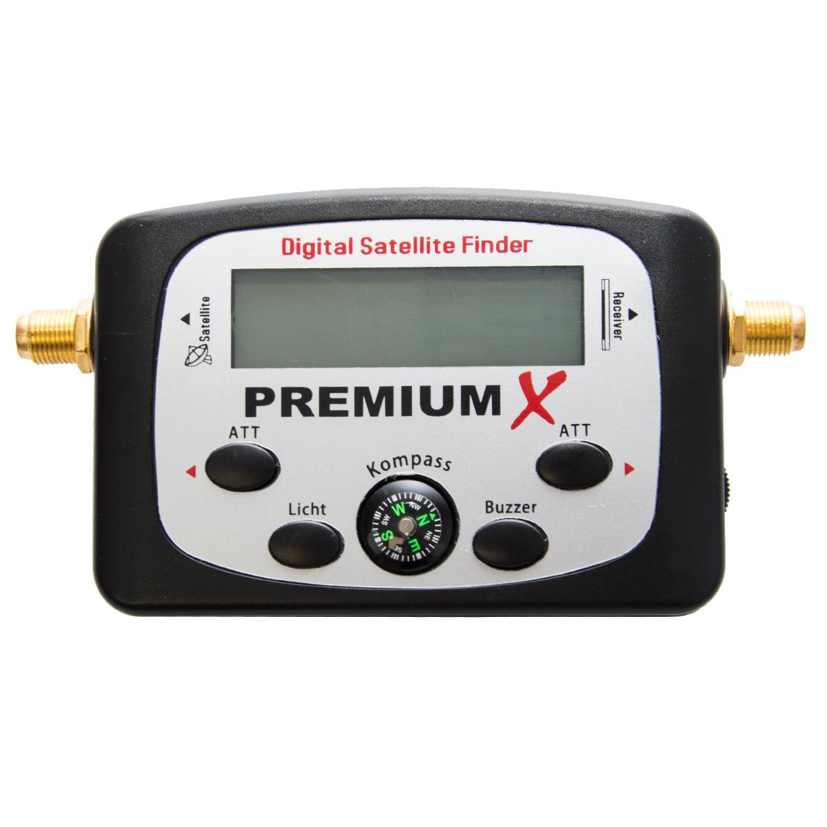PremiumX PXF-21 Digital Satellitenfinder LCD Sat Finder mit Kompass und Akustischer Ausgabe HD UltraHD 4K