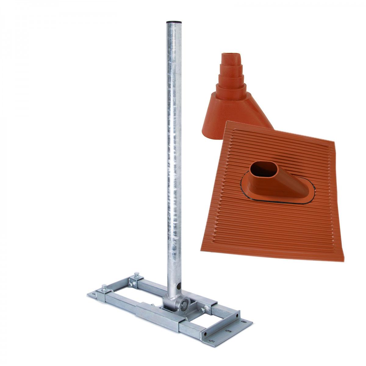 PremiumX DELUXE X130-48 Dachsparrenhalter 130cm Mast für SAT Antenne Dachhalter ALU Dachabdeckung Manschette Rot