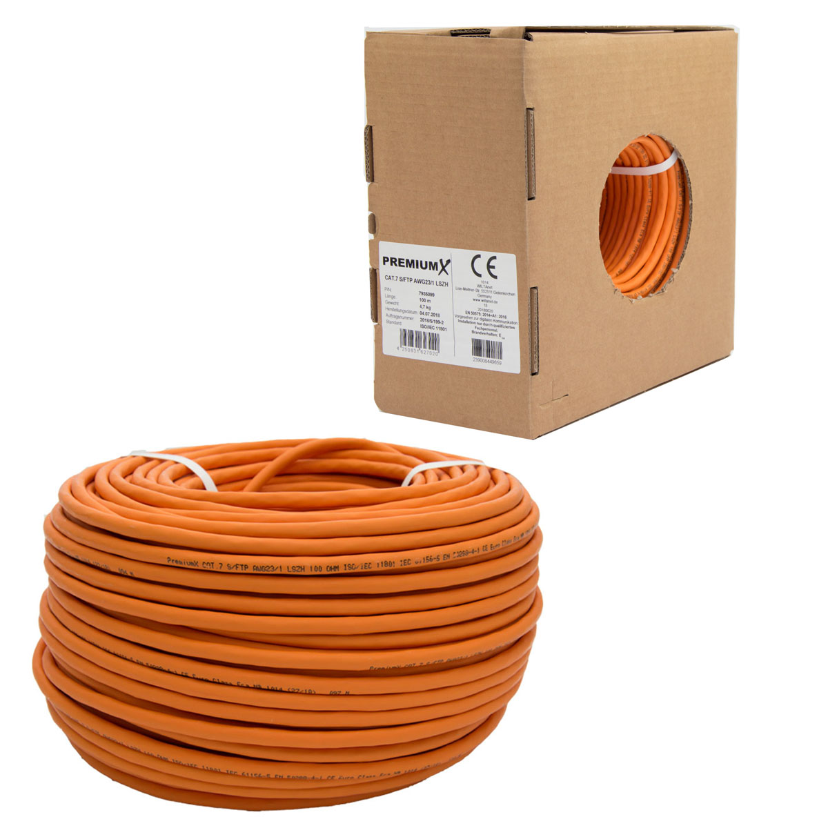 PremiumX CAT 7 Verlegekabel Netzwerkkabel Installationskabel 100m Orange