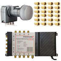 PremiumX PXMS 5/8 Multischalter mit Netzteil Multiswitch 1x SAT für 8 Teilnehmer Matrix Switch Verteiler FullHD HDTV 4K Fuba DEK 407 Quattro LNB LTE Filter SAT Anlage +  24x F-Stecker 7,5 mm