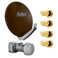 Fuba DAA 650 B Satellitenantenne 65 cm Aluminium Braun Fuba DEK 217 Twin-LNB HDTV 4K 3D für zwei Teilnehmer PremiumX F Stecker 7,5 mm SAT F Aufdrehstecker