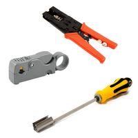 PremiumX Aufdrehhilfe + Abisolierer  + Crimpzange SAT Montage Werkzeug Set