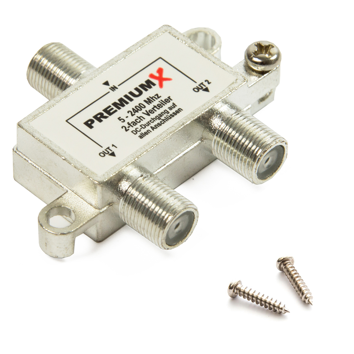 PremiumX Switch 2-fach Verteiler 5-2400 MHz SAT Umschalter Digital Kabel HDTV 4K