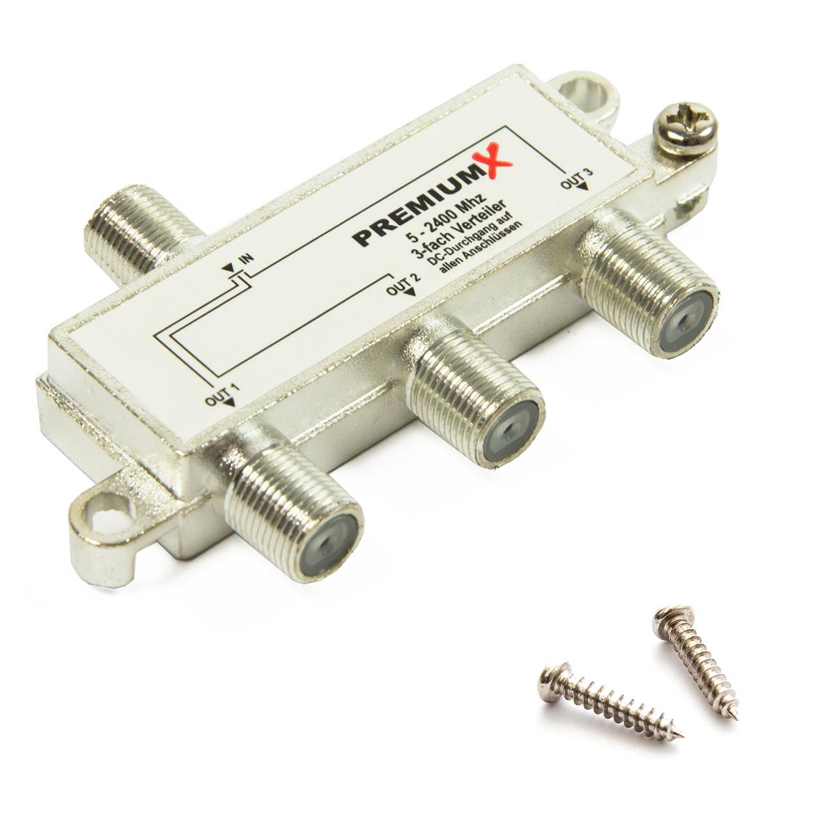 PremiumX Switch 3-fach Verteiler 5-2400 MHz SAT Umschalter Digital Kabel HDTV 4K