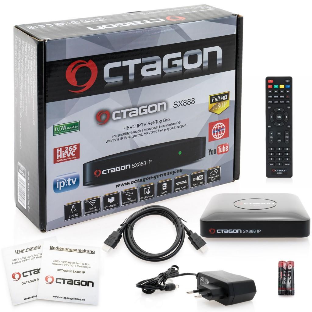 Octagon SX888 IP Receiver HEVC H.265 Digital Set-Top-Box IPTV FullHD SX 888