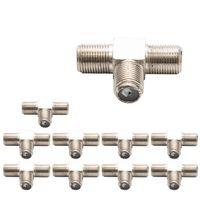 10x T-Verteiler 3x F-Buchse Splitter Verbinder für Koax- und Antennenkabel