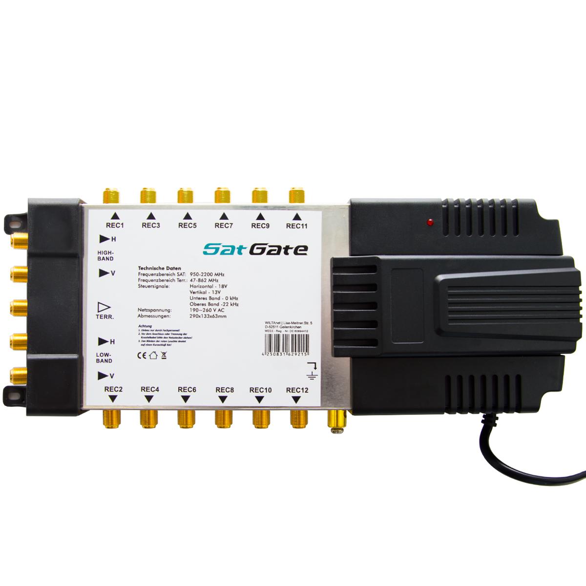 SatGate Multischalter 5/12 Verteiler Switch Matrix für 12 Teilnehmer 1x Sat Eingang Multiswitch FULL HD HDTV 4K UHD