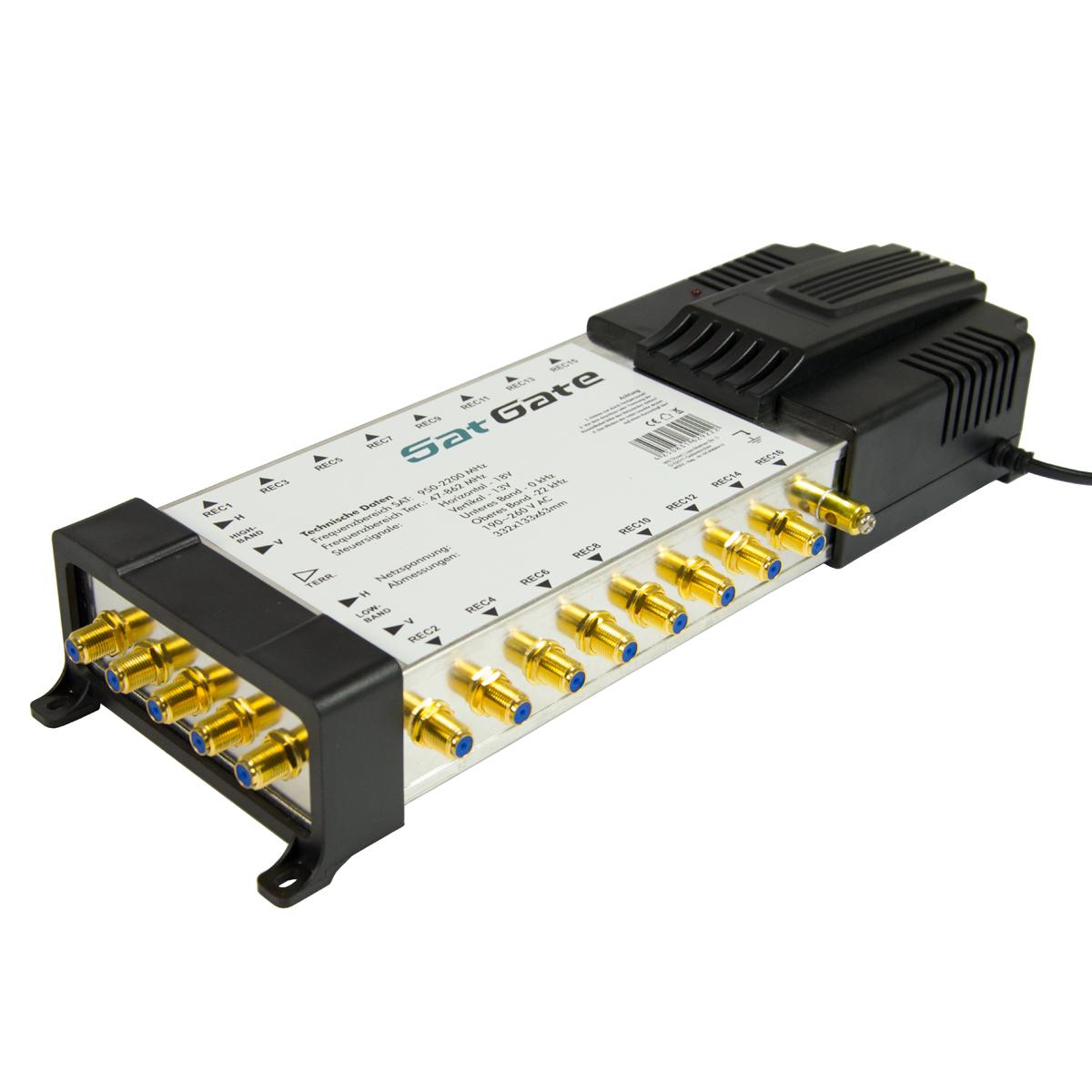 SatGate Multischalter 5/16 Verteiler Switch Matrix für 16 Teilnehmer 1x Sat Eingang Multiswitch FULL HD HDTV 4K UHD
