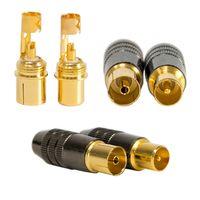 5xTransmedia Antennenstecker/ 5xAntennenbuchse IEC Metallic Gold 5mm - 7mm