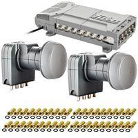 Fuba FMQ 916 Sat Multischalter | Multiswitch für 16 Teilnehmer + 2x Fuba Quattro DEK 407 LNB 4K + F-Stecker