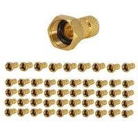 50x PremiumX F-Stecker 4mm schraubbar 4,0 mm Aufdrehstecker Gold