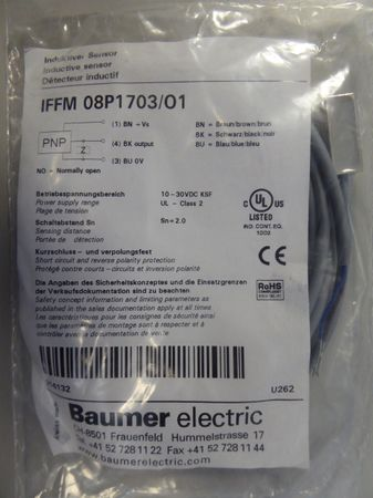Baumer Electric IFFM 08P1703 / 01 Proximity Sensor Art. No 216132