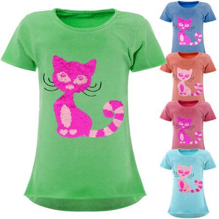 Mädchen Wende Pailletten T-Shirt mit Katzen-Motiv