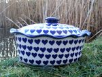 Casserole oval with cover, 34 x 26 x ↑ 16 cm, Ceramics with heart, BSN 99007