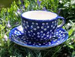 Cup with saucer, polish pottery blue, BSN m-4242 Picture 2