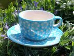 Cup with saucer, polish pottery turquoise, BSN m-4244