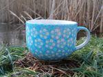 Cup maxi, 500 ml, ↑8,5 cm, Ø 11 cm, polish pottery turquoise, BSN m-4289