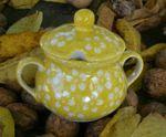 Sugar bowl, poloish pottery yellow, BSN m-4365