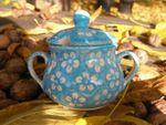 Sugar bowl, poloish pottery turquoise, BSN m-4368