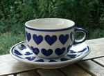 Cup with saucer, pottery with heart, BSN s-219 Picture 2
