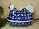 Chicken as egg cosy, 2. choice, 17 x 11 cm, 14 cm high, Tradition 13 - polish pottery - BSN 22643