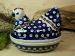 Chicken as egg cosy, 2. choice, 17 x 11 cm, 14 cm high, Tradition 6 - polish pottery - BSN 22641