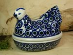 Chicken as egg cosy, 2. choice, 17 x 11 cm, 14 cm high, Tradition 62 - polish pottery - BSN 22657 Picture 2