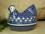 Chicken as egg cosy, 2. choice, 17 x 11 cm, 14 cm high, Tradition 64 - polish pottery - BSN 22659