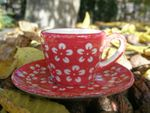 Espresso cup & saucer, 2.ch., Polish pottery red, BSN J-923