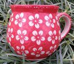 Mug,  vol. 500 ml, 11 cm high, Polish pottery red, BSN J-929