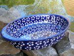 Baking dish, oval, 28x19,5cm, Polish pottery blue, BSN J-1118