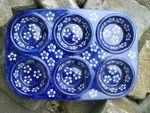 Backform, Muffinform ca. 32x22x4 cm, 6 Mulden, Bunzlau blau, BSN J-2739